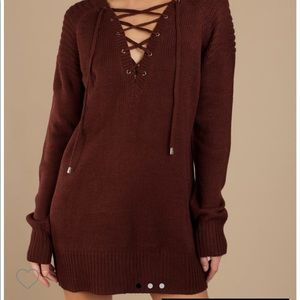 Tobi maroon lace up sweater dress size med